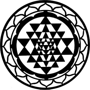 Bellaa 23545 Sri Yantra Metal Wall Art sacred Geometry 24 inch (Black 23545, Large)