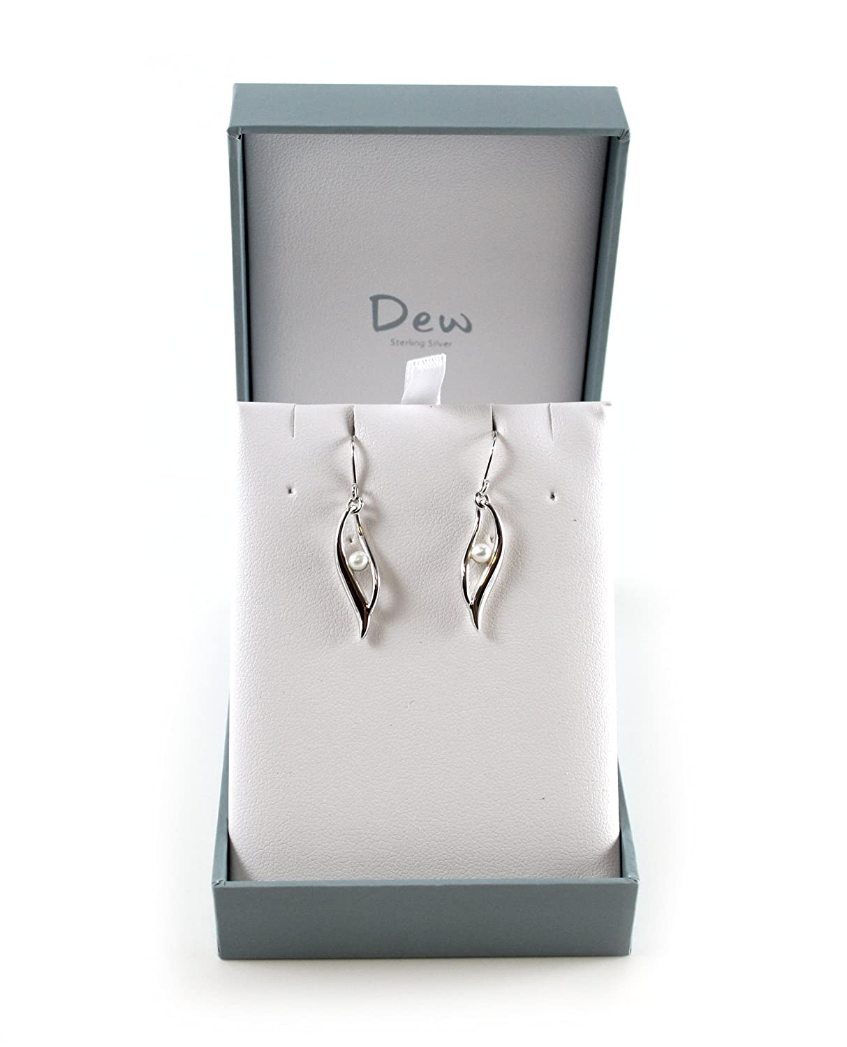 Dew Women's Freshwater Pearl Twist Sterling Silver Drop Earrings Ld86f