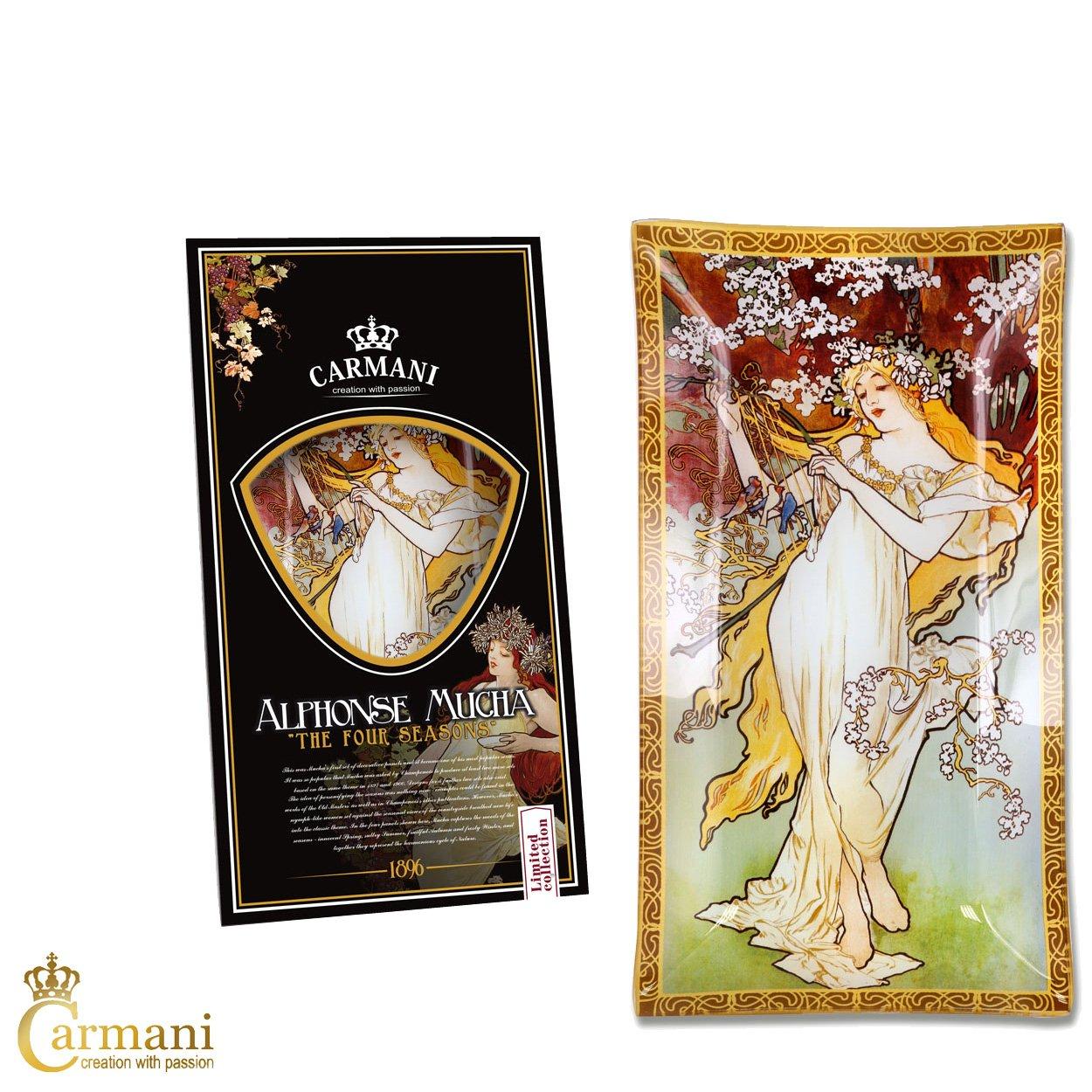 Carmani - A. Mucha Quattro stagioni SPRING - Rettangolo decorativo Piatto di vetro laccato 16x30cm