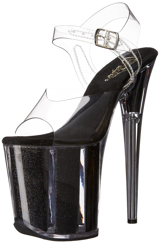 Pleaser Women's FLAM808G/C/B Sandal B014J2WIFY 7 B(M) US Clear/Black Glitter
