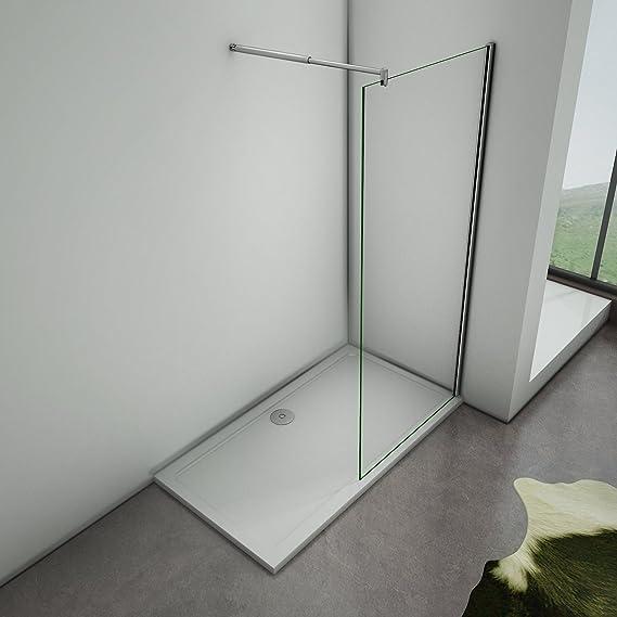 Mamparas de Ducha Frontales Puerta Fijo WALK IN Antical 8mm Cristal Barra 70cm-120cm 50x200cm: Amazon.es: Bricolaje y herramientas