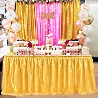 6ft Tutu Table Skirt Gold Table Skirt for Rectangle or Round Table Skirting Decoration for Bridal Shower Wedding Baby Shower Birthday Party Decor