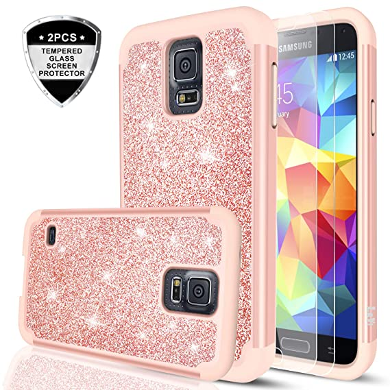 new york 75486 454c7 Galaxy S5 Glitter Case with Tempered Glass Screen Protector, LeYi Bling  Cute Girls Women Design [PC Silicone Leather] Dual Layer Heavy Duty  Protective ...