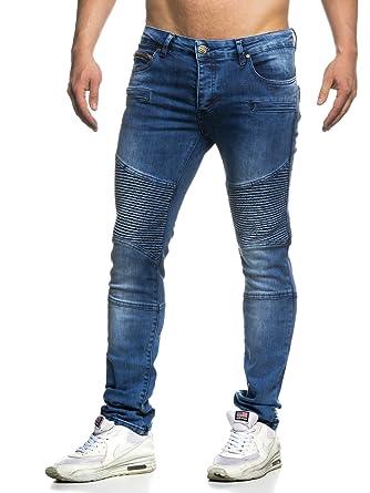 dae7aa45bc663 TAZZIO Slim Fit Herren Biker Style Jeans 16522 Blau