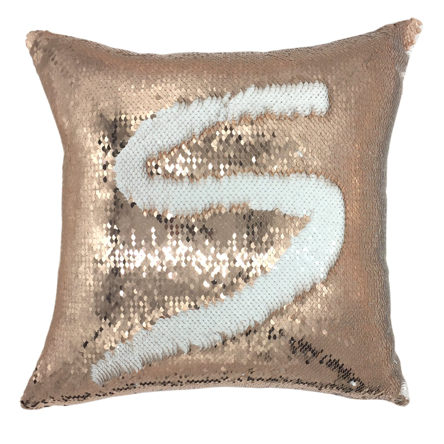 YOUR SMILE Mermaid Throw Pillow Case Magic Reversible Sequins Decorative Cushion Cover Pillowcase for Couch Sofa Bed,16 X 16 Inches, (Rose Gold/White)