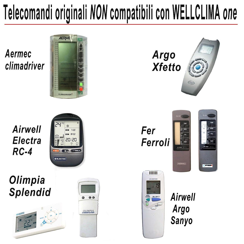 Mando a distancia universal para aire acondicionado Wellclima Plus, retroiluminado, con termómetro para temperatura ambiente, compatible con las principales ...