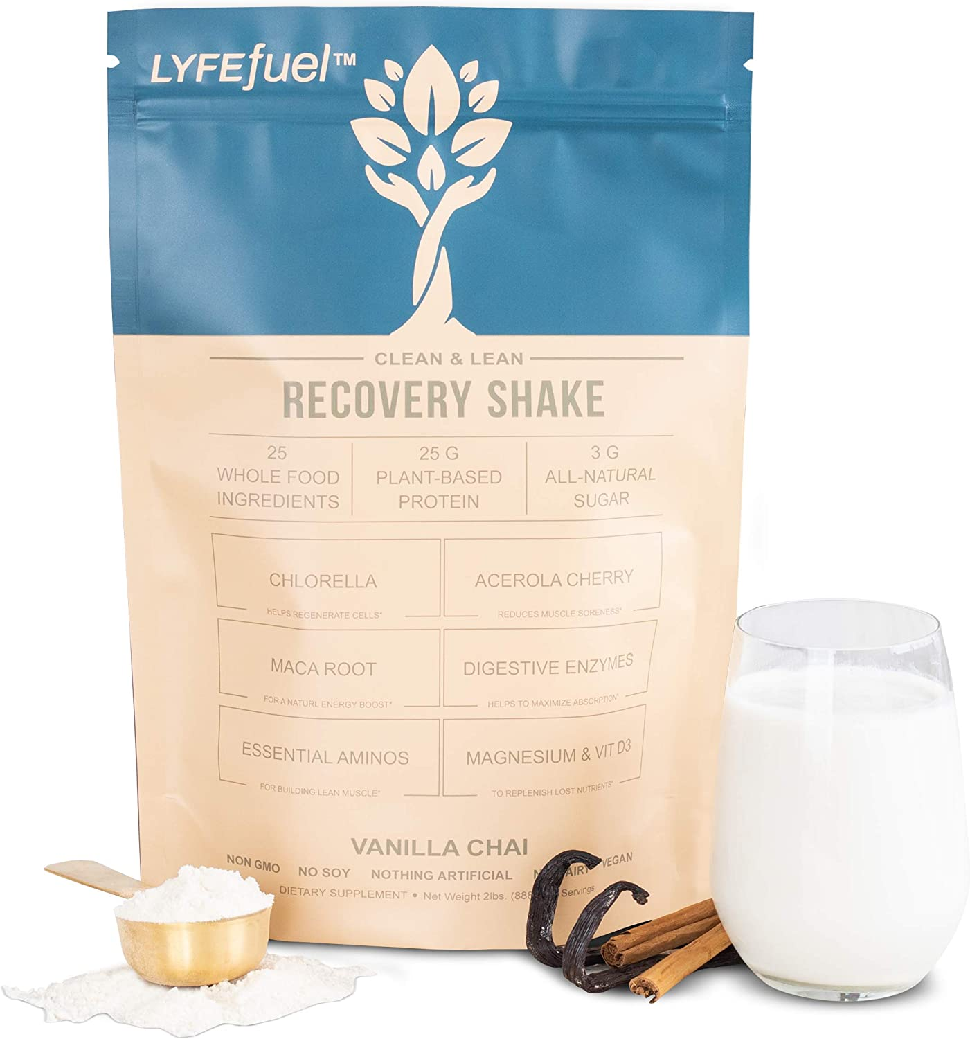 Post-Workout Recovery Shake by LYFE Fuel   All-in-One Sports Nutrition Drink for Rapid Muscle Replenishment   25g Plant Based Protein Powder + Essential Amino Acids & Key Nutrients (Vanilla - 1 lb)