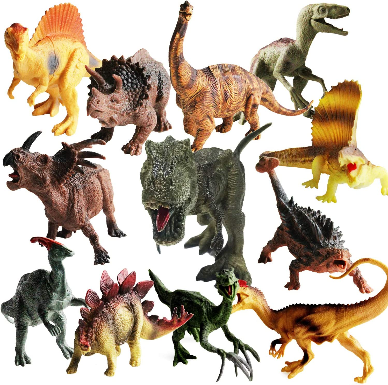 "ToyerBee Dinosaurs Toys -12 Pack 7"" to 9"" Realistic Dinosaur Figures for 3 Years Old & Up, Great as Dinosaur Party Supplies"