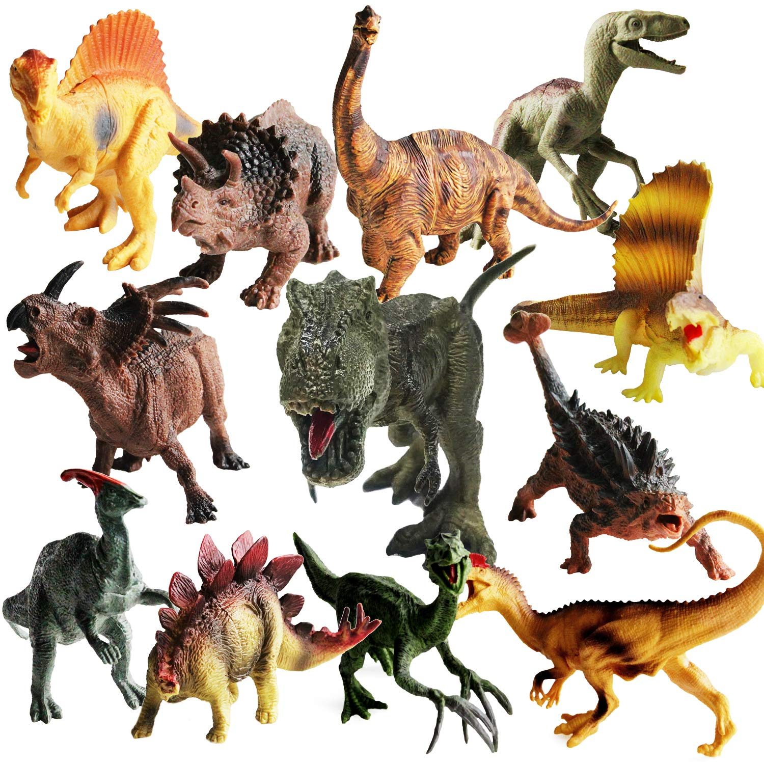 ToyerBeeDinosaurs Toys -12 Pack 7'' to 9'' Realistic Dinosaur Figures for 3 Years Old & Up, Great as Dinosaur Party Supplies