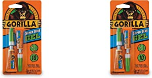 Gorilla Super Glue Gel, Two 3 Gram Tubes, Clear, (Pack of 2)