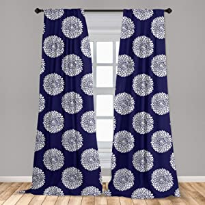Lunarable Garden Art 2 Panel Curtain Set, Simplistic Composition of Blossoming Flowers on an Abstract Background, Lightweight Window Treatment Living Room Bedroom Decor, 56