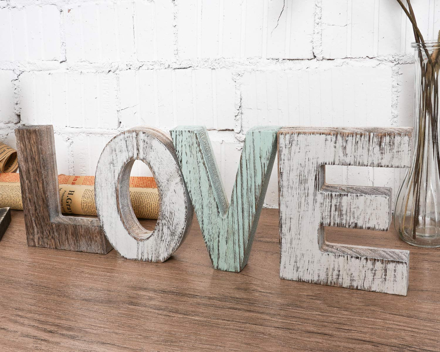 TIMEYARD Wood Love Signs Wall Decor, Wooden Blocks Rustic Letters Cutout Farmhouse Home Table Centerpiece Decor, Multicolor, Freestanding with Double Sided Foam Tape, Gift for Valentine, Thanksgiving