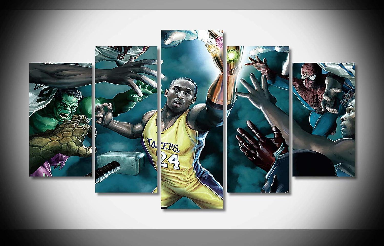 49455069a05d5 Amazon.com: Canvas Deco 5pcs Kobe Bryant Lebron James NBA Canvas ...
