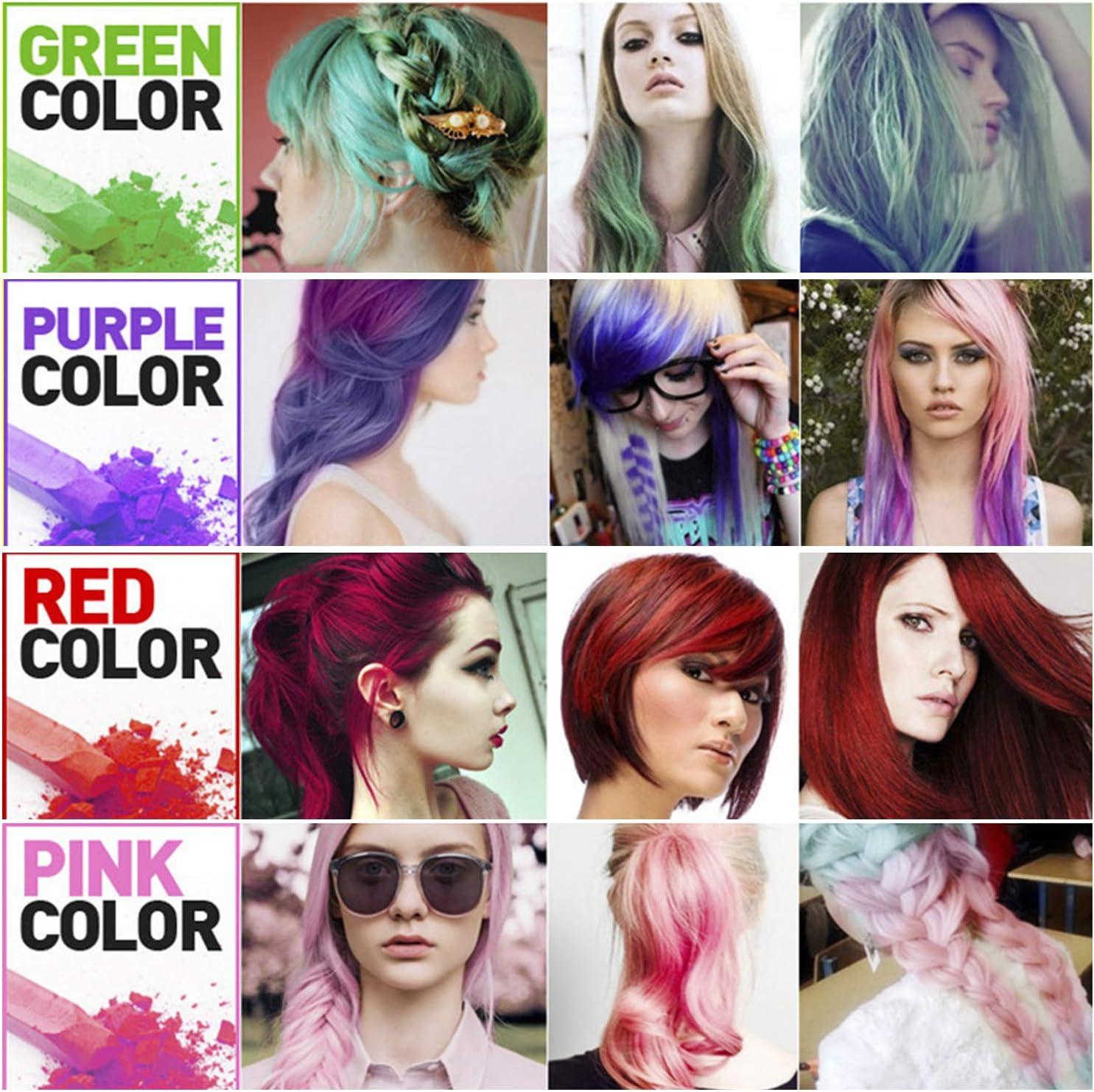 J TOHLO Tiza para el Cabello 12 Colores Lavables Tinte para Cabello Tinte Temporal de Tiza Para el Pelo para el Cabello Regalos para niñas Para ...