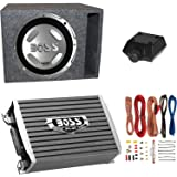 "Boss Audio 12"" 1400W Subwoofer + 1500W Amplifier w Amp Kit +QPower 12"" Enclosure"