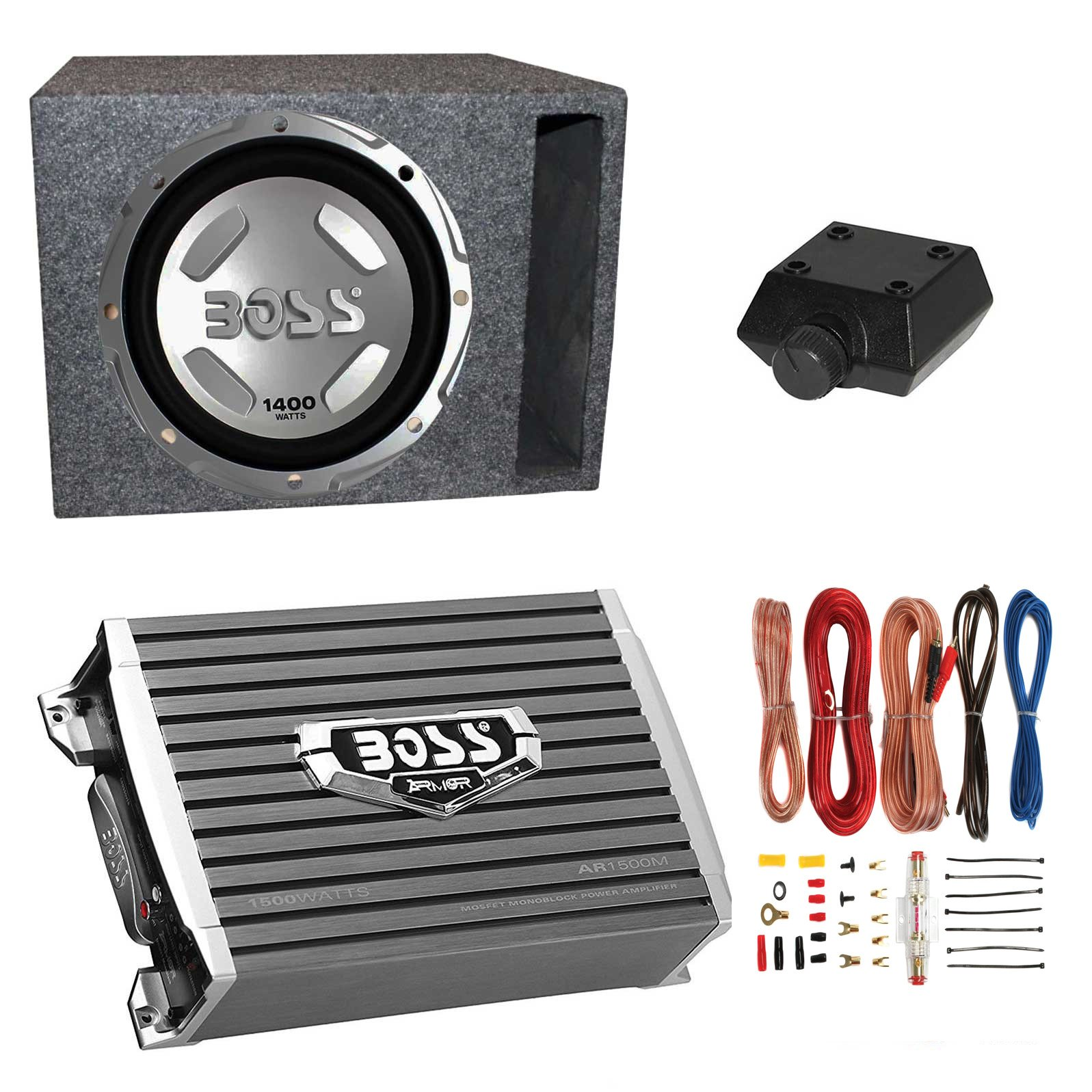 Boss Audio 12'' 1400W Subwoofer + 1500W Amplifier w Amp Kit +QPower 12'' Enclosure by BOSS