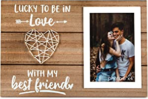 Boyfriend and Girlfriend Anniversary, Birthday, Romantic Couples Gift - Couple, Husband, Wife, Fiance Picture Frame Gifts For Him or Her - Lucky To Be In Love - 4x6 Inches Cute Photo