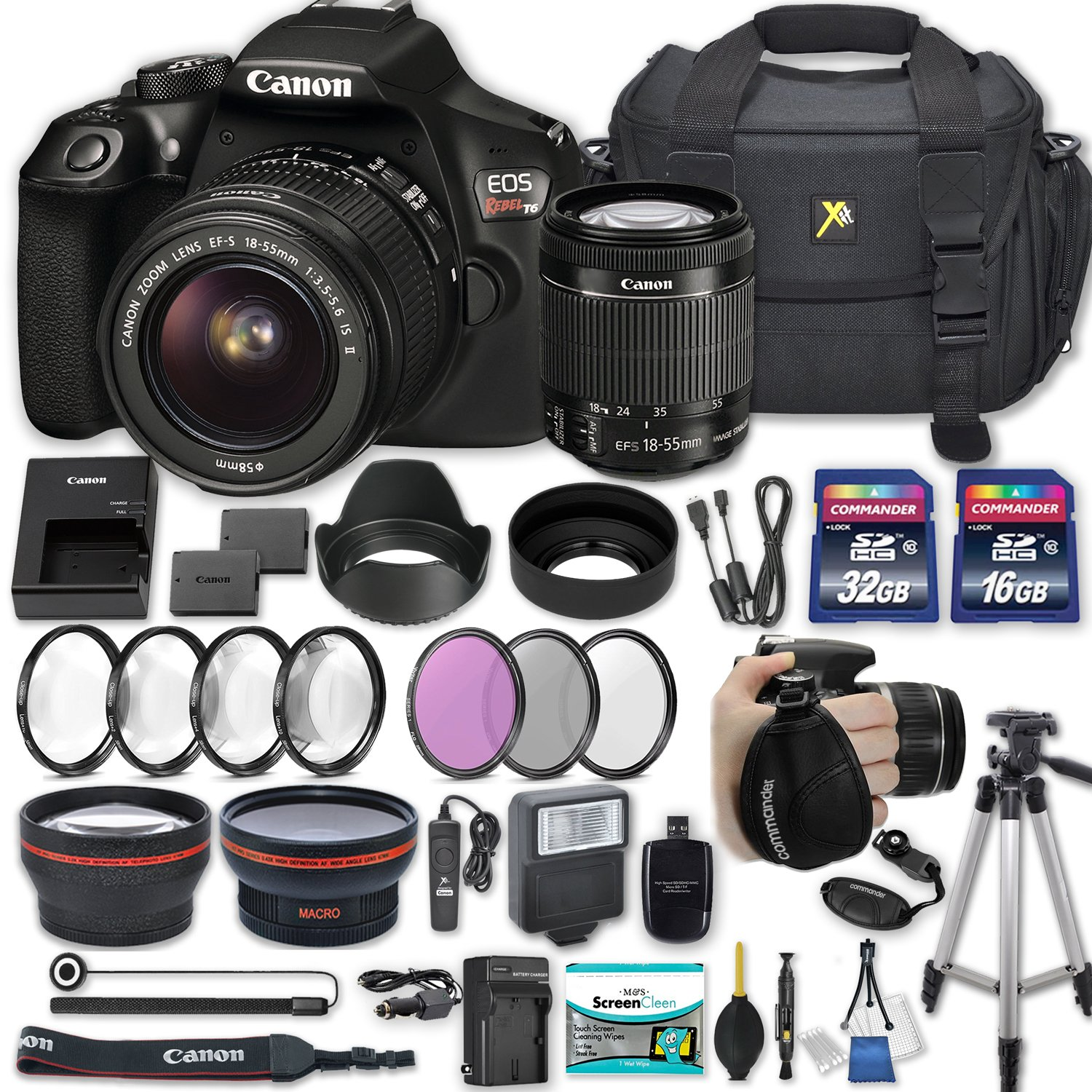 Canon EOS Rebel T6 DSLR Camera with EF-S 18-55mm f/3.5-5.6 IS II Lens + 2 Memory Cards + 2 Auxiliary Lenses + HD Filters + 50'' Tripod + Premium Accessories Bundle (24 Items) by Canon