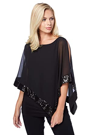 c8f97d4f788 Roman Originals Women Sequin Trim Overlay Top - Ladies Chiffon Sparkle  Cocktail Party Evening Flattering Elegant Dressy Overlay Evening Special  Occasion ...