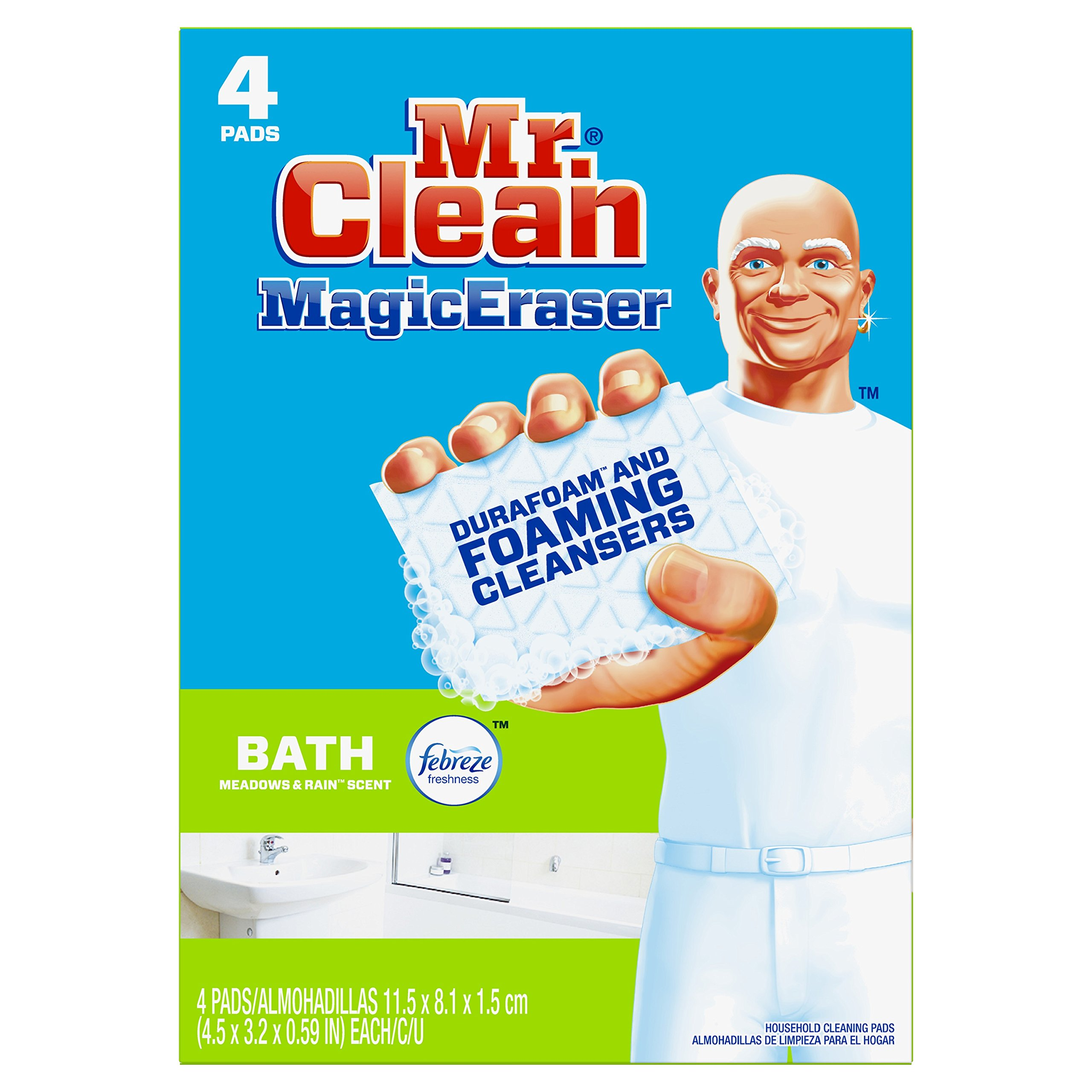 Mr. Clean Magic Eraser Bath, Cleaning Pads with Durafoam, Meadows & Rain, 4 Count (Packaging May Vary)