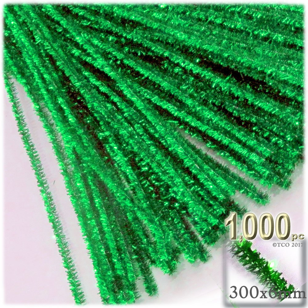 The Crafts Outlet Chenille Sparkly Stems, Pipe Cleaner, 12-in (30-cm), 1000-pc, Light Green