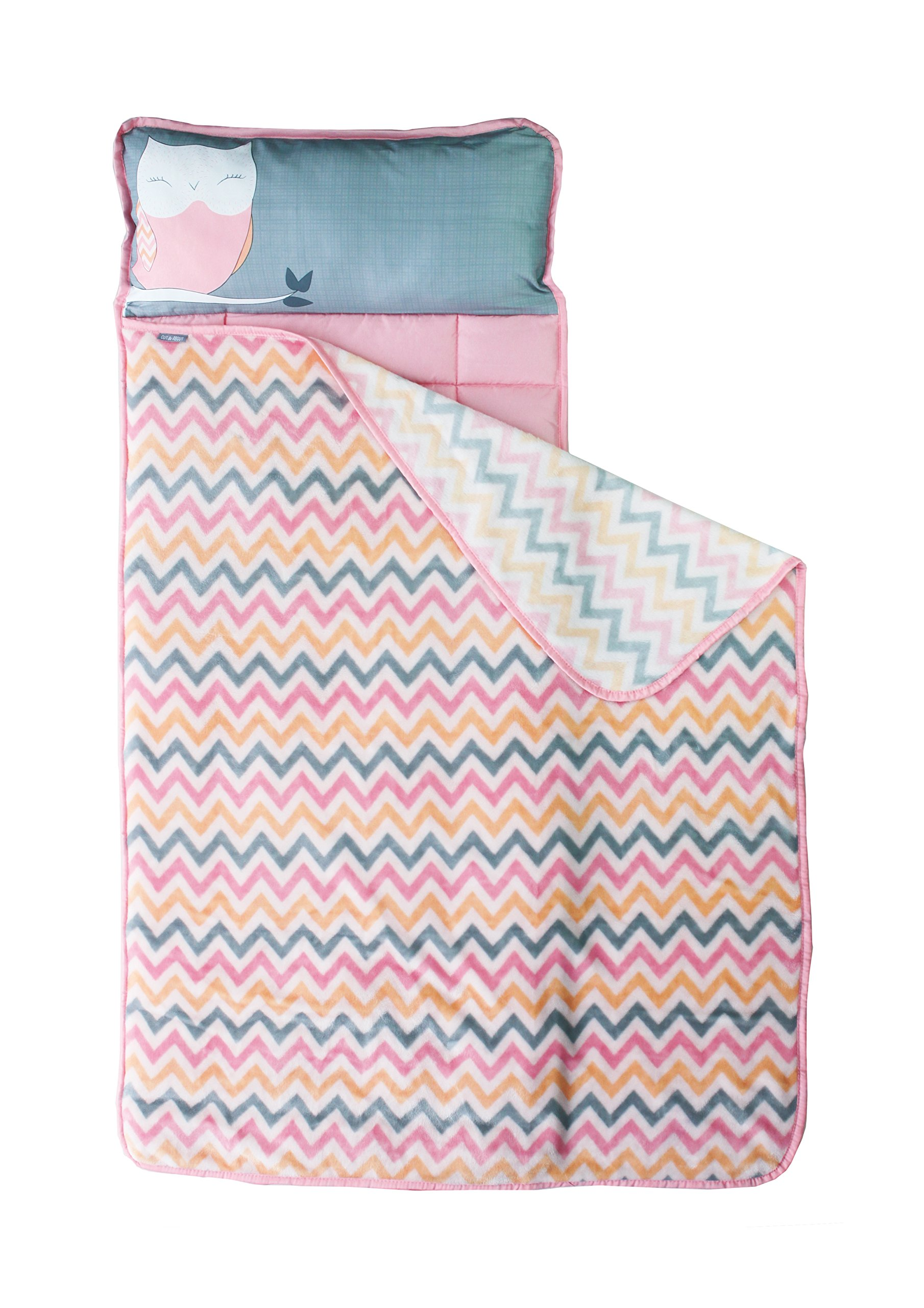 Toddler Nap Mat - Portable Washable Plush Blanket & Padded Mattress (Chevron Owl) By Homezy