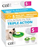 Genuine Catit Fountain Filters for 3L Catit Flower Fountain and Catit Fresh and Clear Fountains Only, Pack of 5