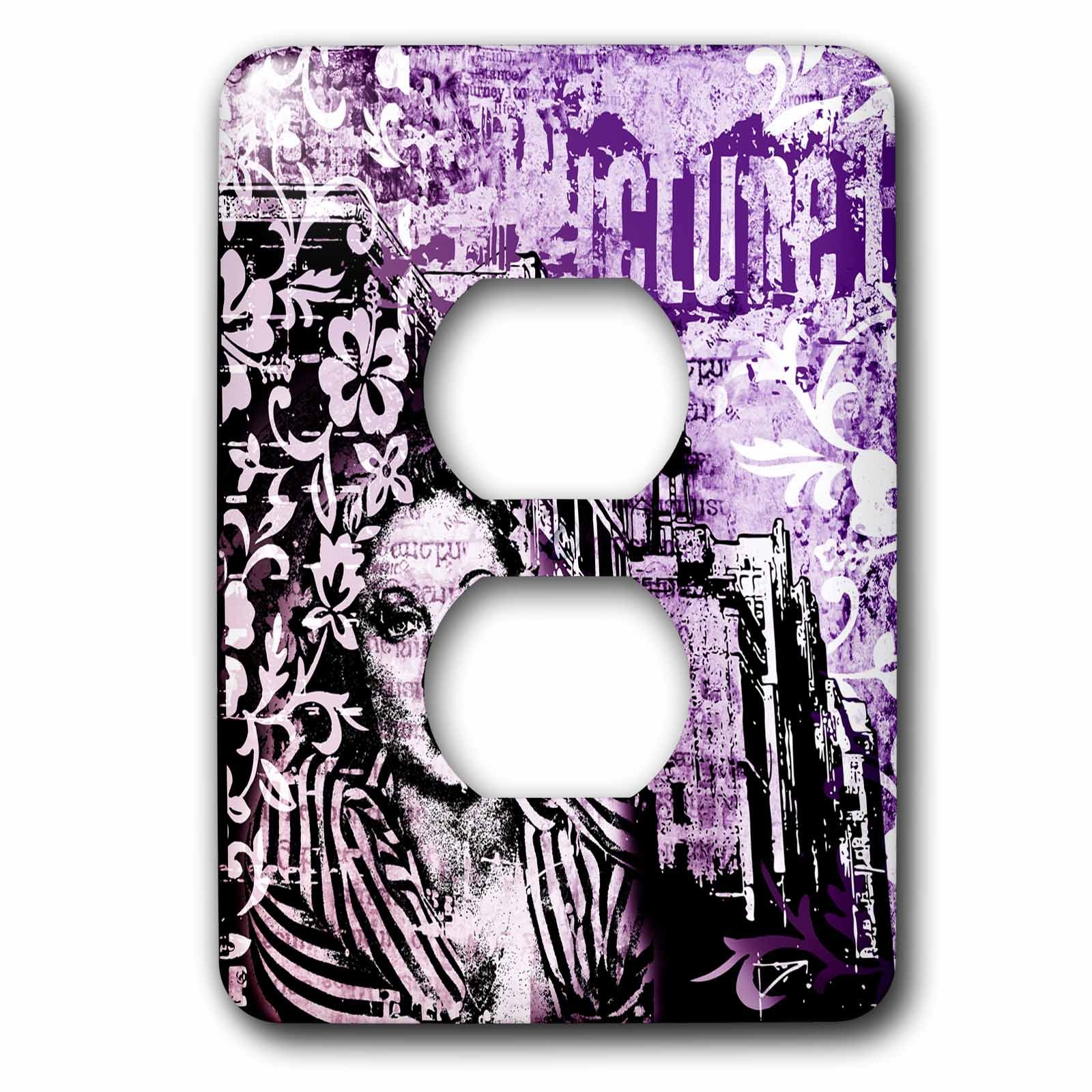 3dRose Andrea Haase Art Illustration - Retro Woman Illustration Urban Style In Black White And Purple - Light Switch Covers - 2 plug outlet cover (lsp_271213_6)