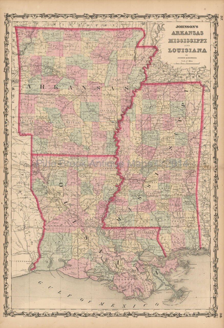 Arkansas Mississippi Louisiana Antique Map Johnson 1861 Original
