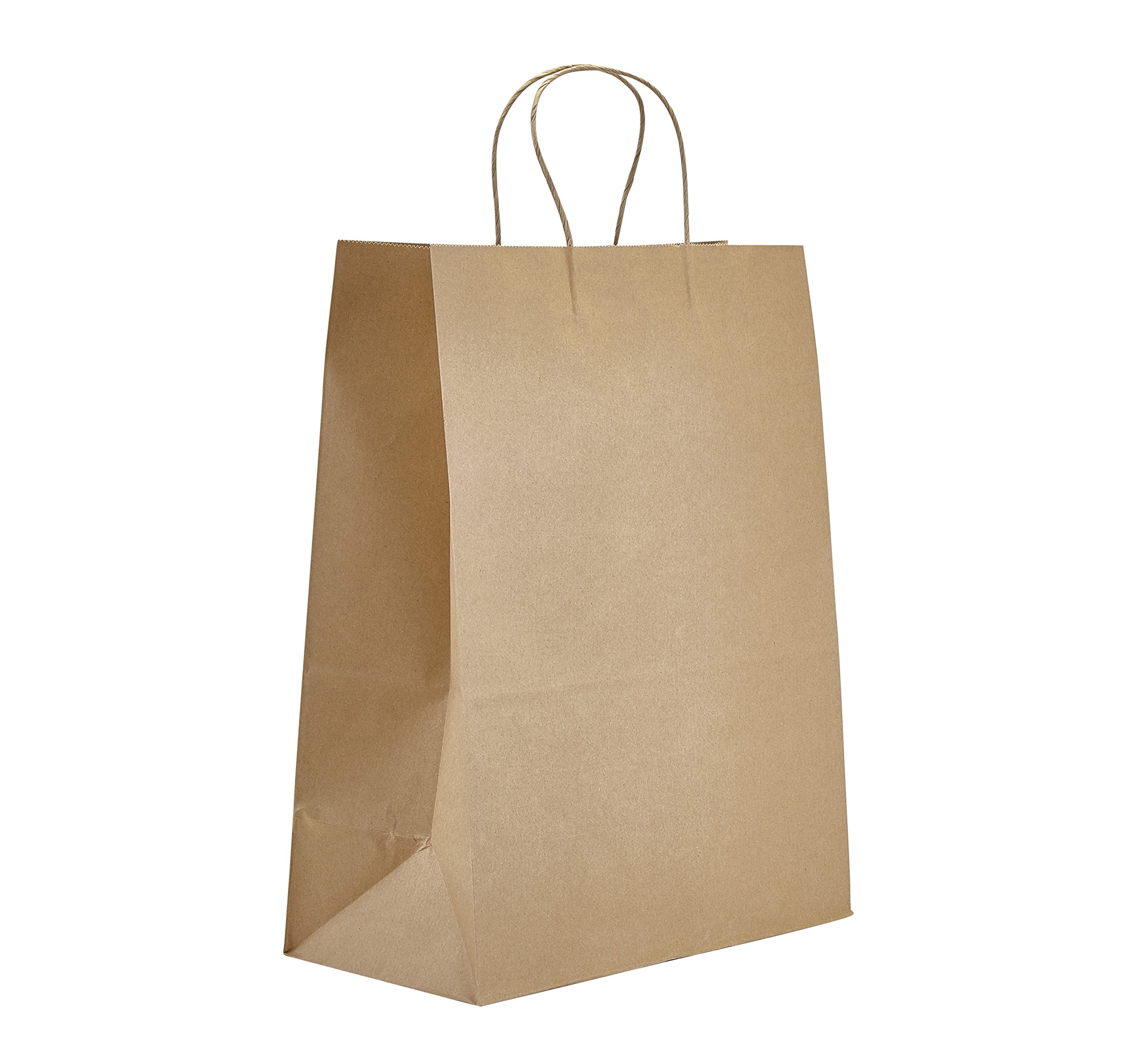 PTP - 13'' x 7'' x 17'' Natural Kraft Paper Gift Tote Bags - 250 Count| Perfect for Birthdays, Weddings, Holidays and All Occasions | White or Natural Colors | Multiple Sizes