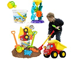 TEMI Beach Sand Toys for 3 4 5 6 7 Year Old Boys w/ Water Wheel, Dump Truck, Bucket, Shovels, Rakes, Watering Can, Molds, Out