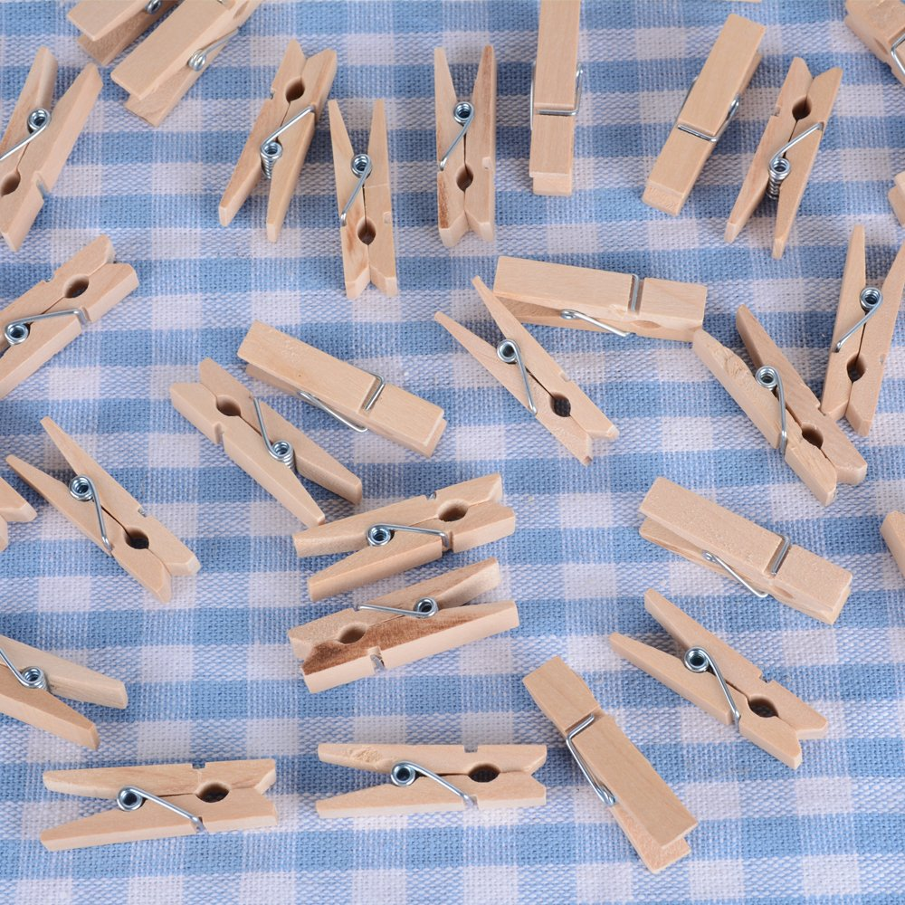 100 Stk Mini Holzklammern Klammern Holz Deko Klein Wäscheklammern ...
