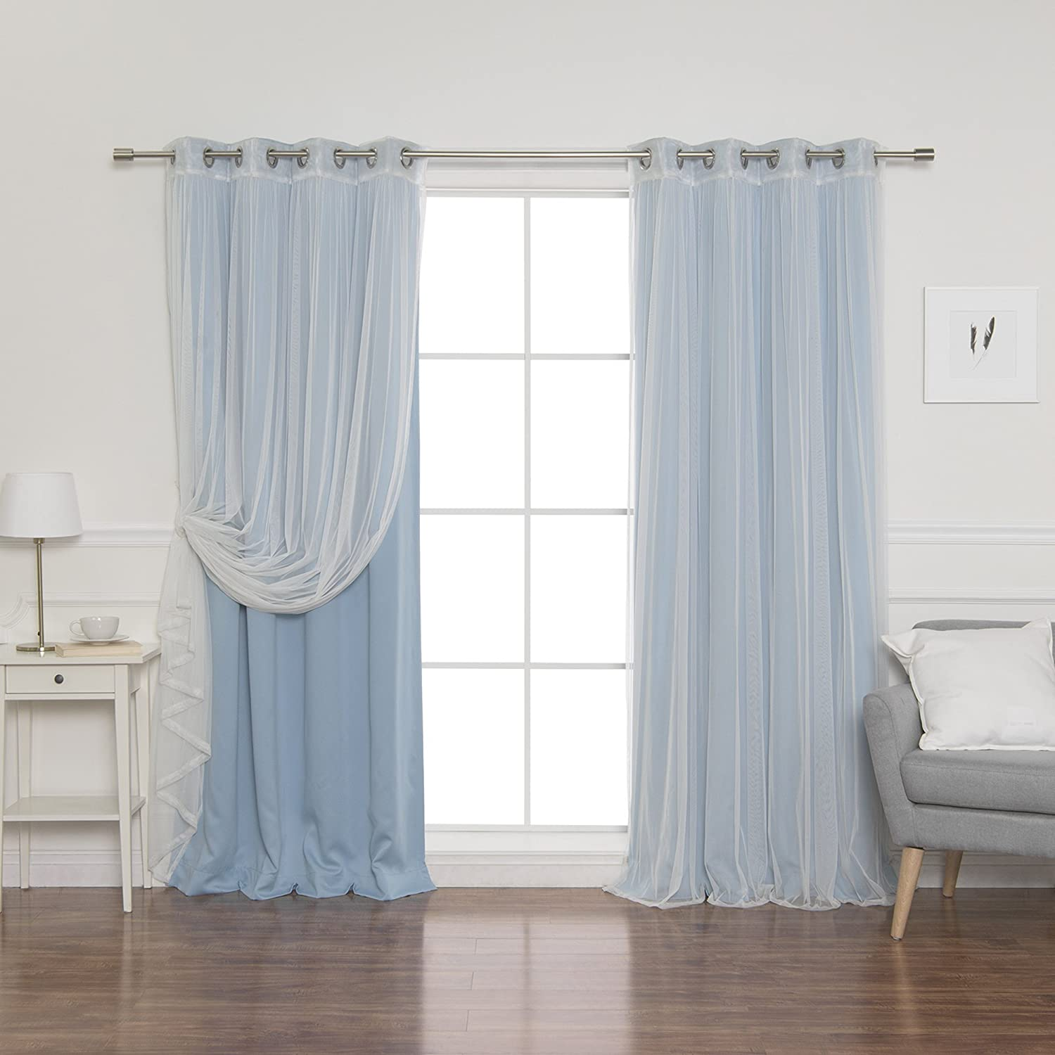 Best Home Fashion uMIXm Mix and Match Tulle Sheer Lace and Blackout 4 Piece Curtain Set – Stainless Steel Nickel Grommet Top – Ocean – 52