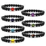 Amazon Price History for:J. Fée 7 Pack 7 Chakras Gemstone Bracelet Men&Women Lava Stretch Bracelet - 7 Pack Bracelets Series