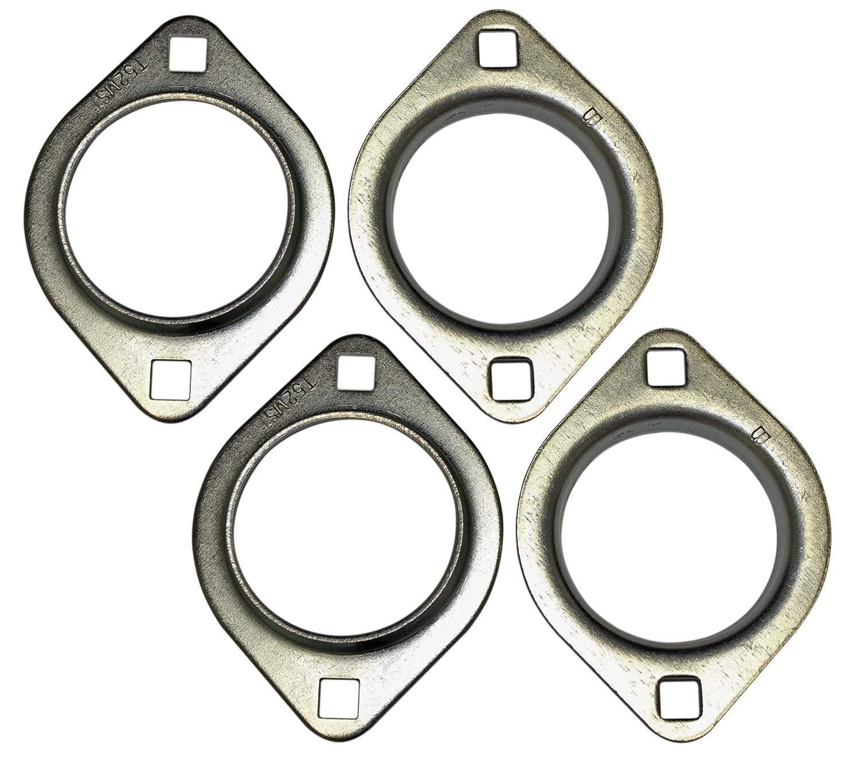 Set of 2 - Pairs of 1' 2-Hole Axle Bearing Flangettes (4 Halves) for Go Karts, Mini Bikes, Drift Trikes, Barstool Racers BMI Karts