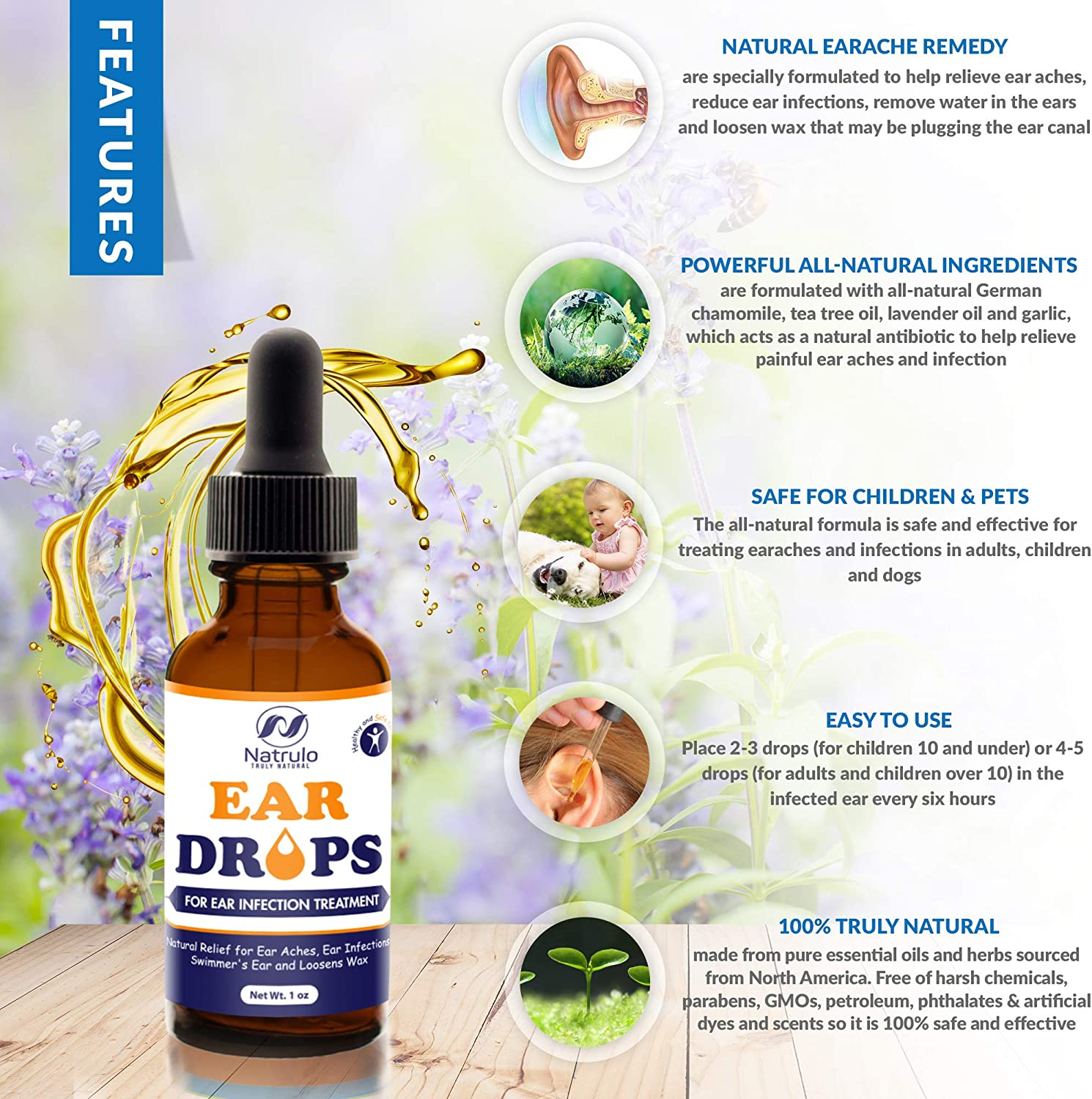 Amazon Com Natrulo Natural Ear Drops For Ear Infection Treatment Homeopathic Herbal Eardrops For Adults Children Pets Relieves Ear Aches Infections Swimmer S Ear Loosens Wax Kids Safe Made In