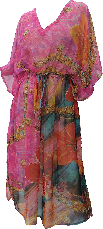 LA LEELA Femmes Longue Kaftan Tunique Kimono 3D HD Imprim/é Grande Taille Robe pour Loungewear Vacances V/êtement de Nuit Plage Tous Les Jours Haut Robes Maxi Caftan S