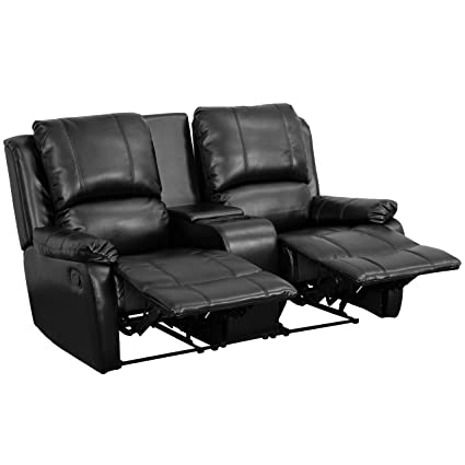 Flash Furniture Allure Series 2 Seat Reclining Pillow Back Black Leather Theater  Seating Unit With