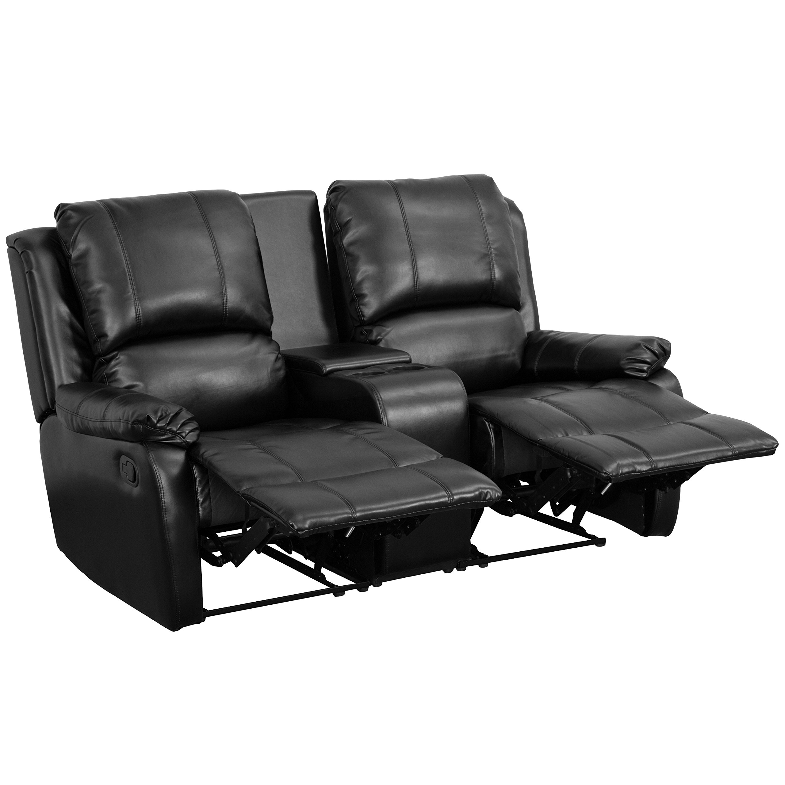 Flash Furniture Allure Series 2-Seat Reclining Pillow Back Black Leather Theater Seating Unit with Cup Holders