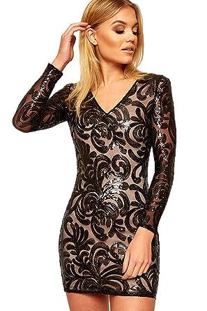 2ec39ba3209b WearAll Women's Long Sleeve Sheer Mesh Lined Floral Sequin New Ladies  Bodycon Mini Dress - Black