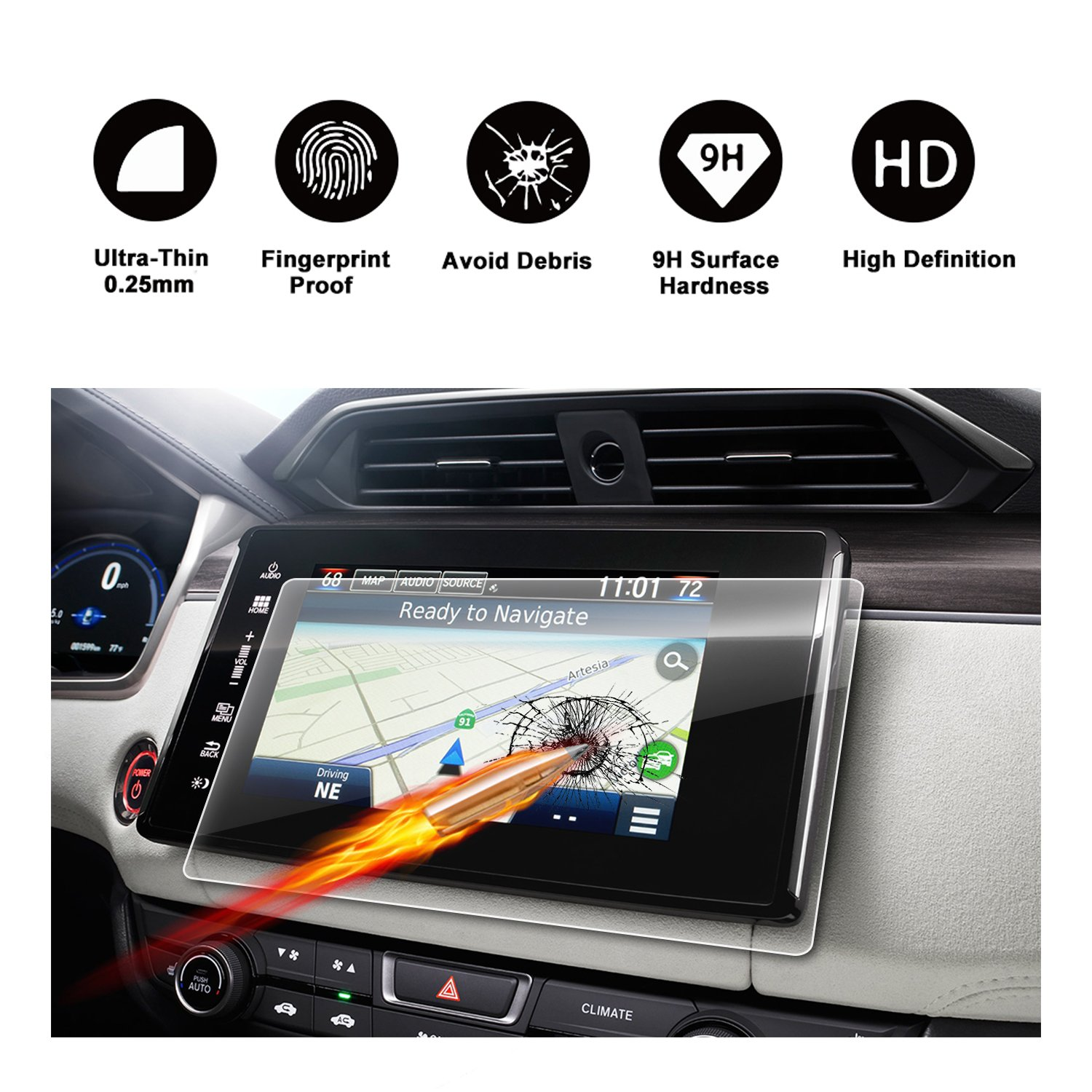 2018 Clarity Connect HondaLink 8-Inch Touch Screen Car Display Navigation Screen Protector, R RUIYA HD Clear Tempered Glass Protective Film by R RUIYA