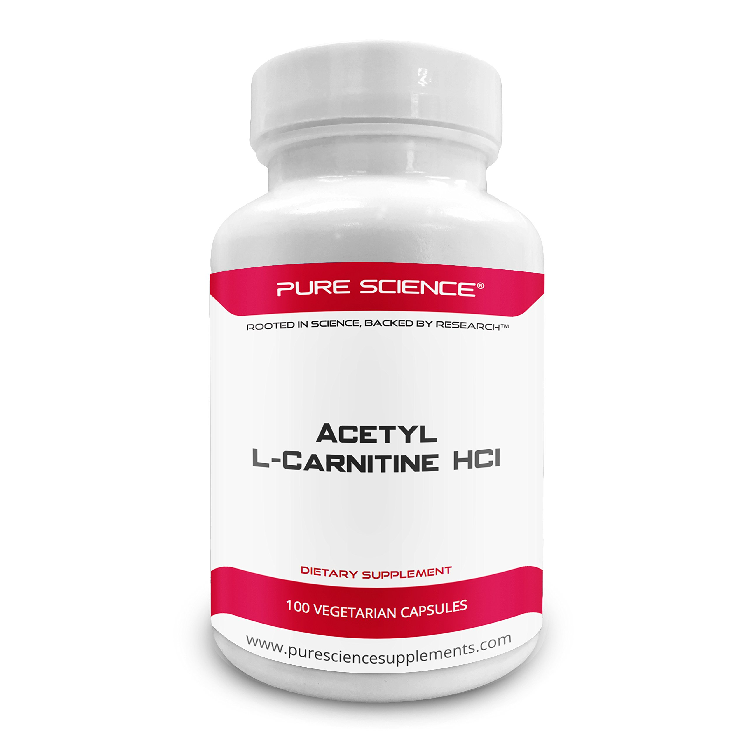 Pure Science Acetyl L-Carnitine HCI 525mg - Great for Mesomorph Body Type, Immunity, Detox & Brain Support - 100 Vegetarian Capsules of Acetyl L-Carnitine Powder