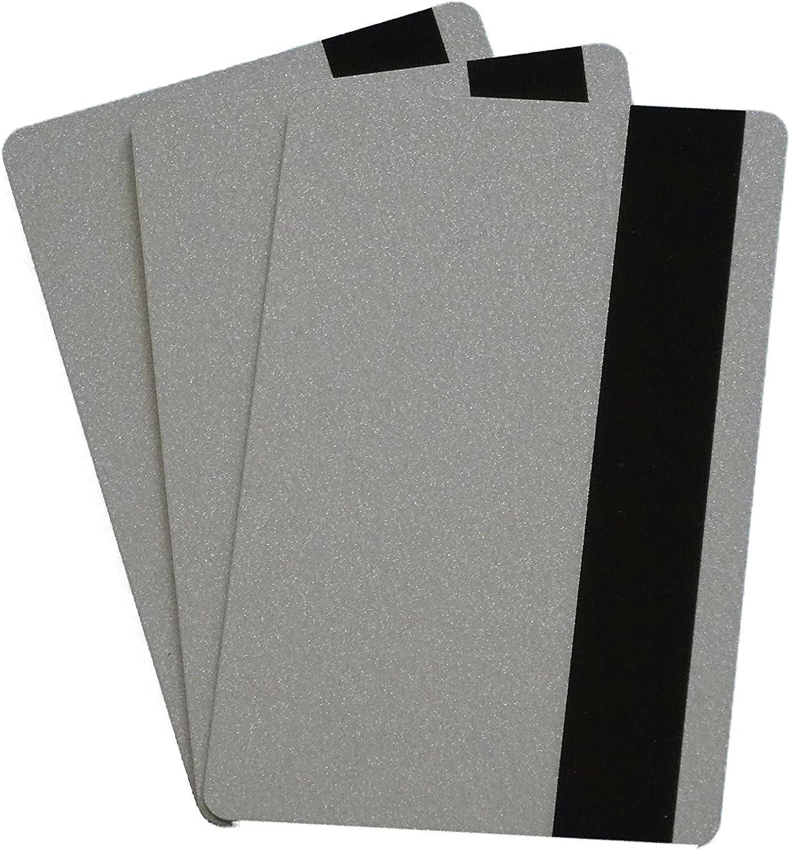 VE: 50 St/ück Tankkarten Hotelkarten Mitarbeiterausweise Blanko Rohlinge Kartendrucker Zebra Magnetkarten HiCo 4000 Oe silber-metallic Plastikkarten Premium PVC