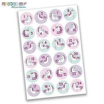 Papierdrachen 24 Adventskalender Zahlen Aufkleber   Einhorn Nr 28   Sticker  4 Cm   Zum Basteln