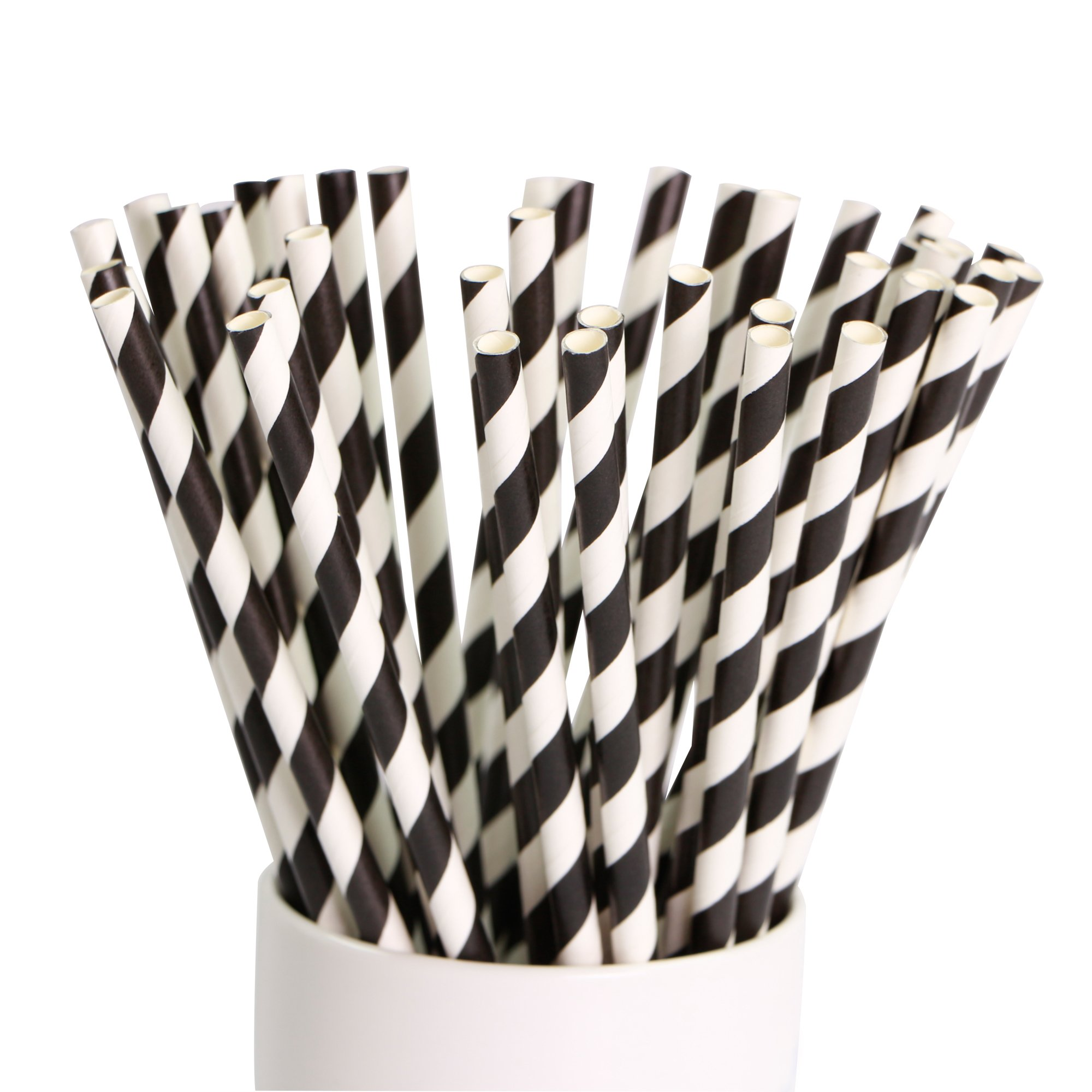 """Webake 144 Pack Biodegradable Paper Straws Stripes 7.75"""" for Birthdays,Holiday,Weddings,Baby Showers, Celebrations,Parties (Black)"""