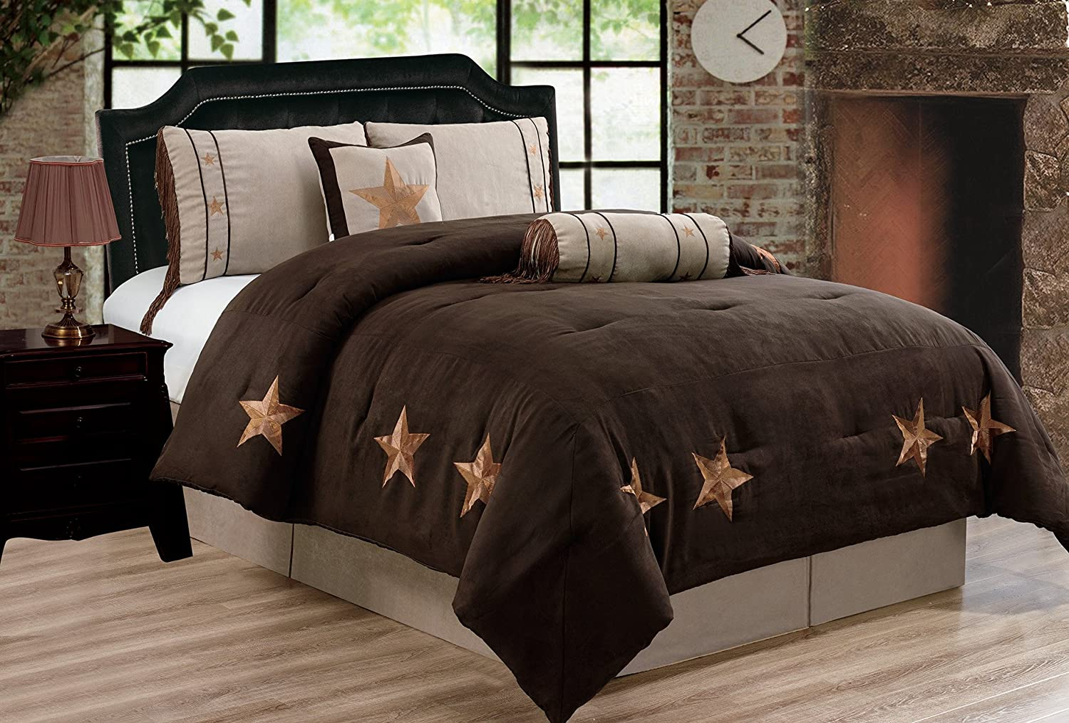 "Grand Linen 6 Piece Chocolate Brown/Taupe/Camel Oversize Lodge Cabin King Size (106""X 92"") Comforter Set Micro Suede Texas Lone Star Rustic Western Decor Bedding"