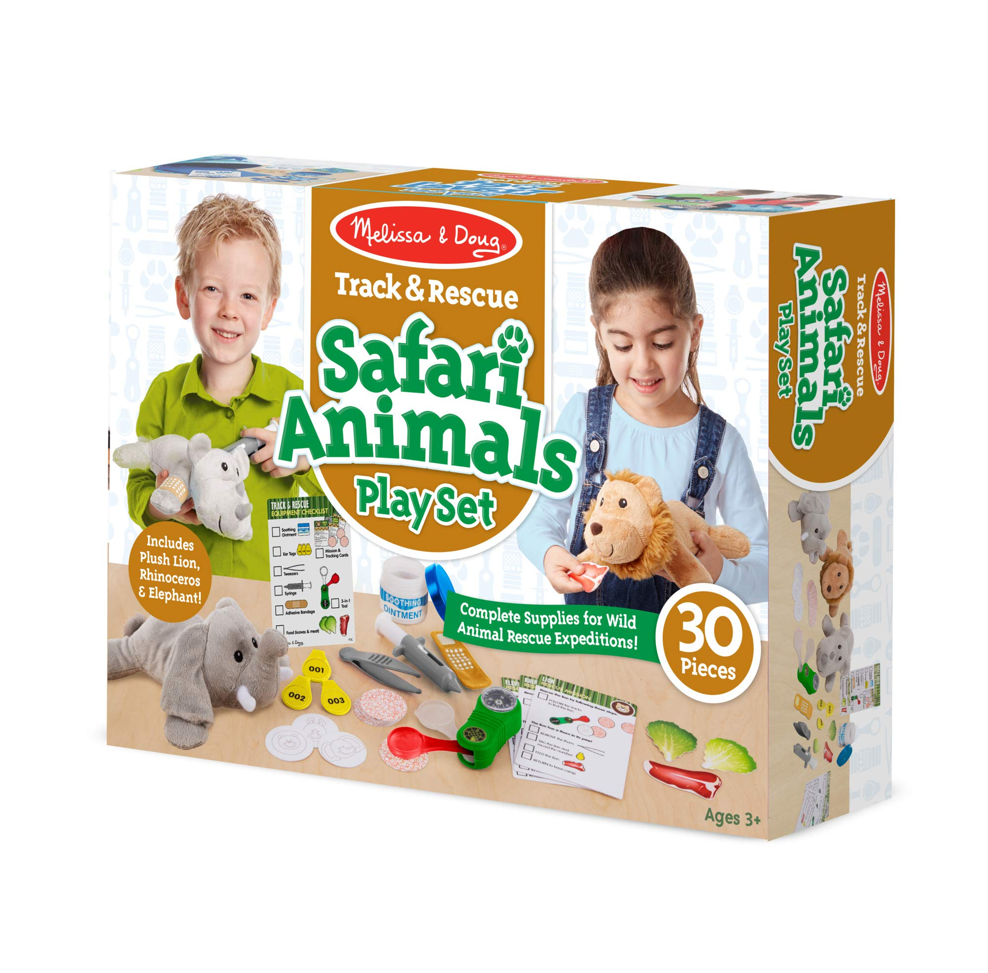 Melissa & Doug Track & Rescue Safari Animals Play Set with 3 Plush Stuffed Animals (30 Pcs), Multicolor by Melissa & Doug