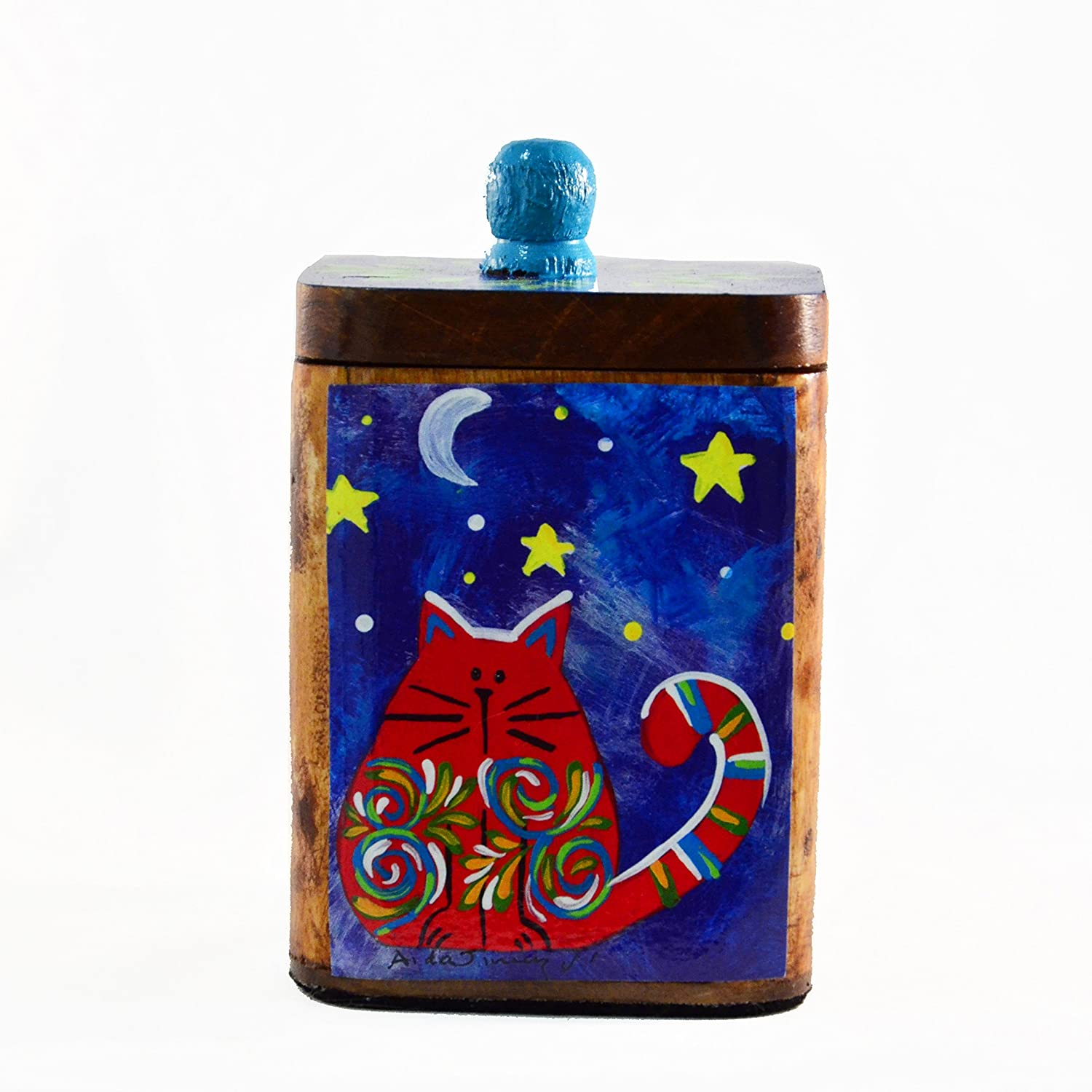 Costa Rican red cat print: box for tea and sugar bags