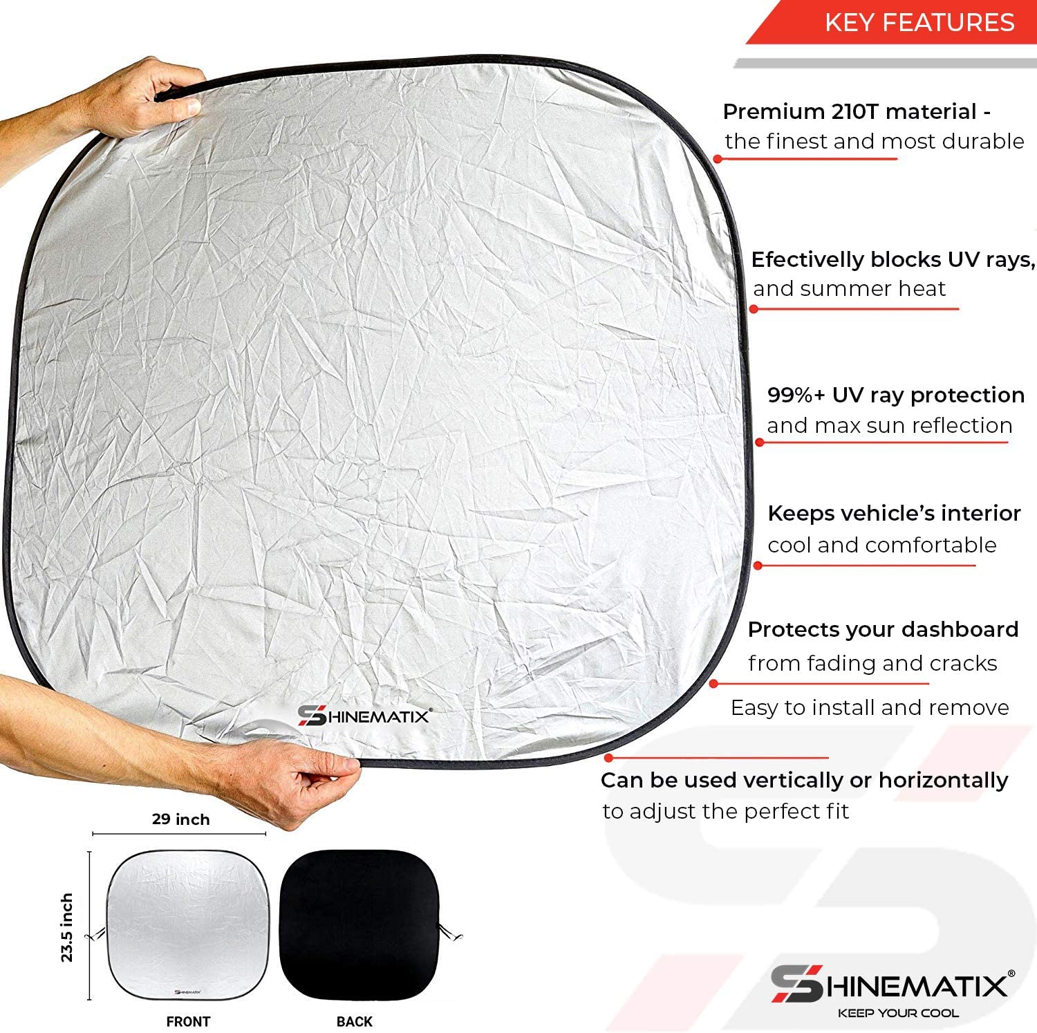 Best 210T Reflective Material Blocks 99/% UV Rays and Keeps Your Vehicle Cool SHINEMATIX 2-Piece Windshield Sun Shade Large Foldable Car Front Window Sunshades for Most Sedans SUVs Trucks Tesla