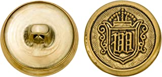 product image for C&C Metal Products 5268 Crest Metal Button, Size 30 Ligne, Antique Gold, 36-Pack